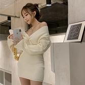 長袖裙裝 秋冬季新款修身顯瘦性感v領打底連衣裙長袖套頭包臀針織短裙 風尚