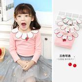 女童長袖T恤秋裝新款寶寶花瓣領打底衫兒童櫻桃上衣潮
