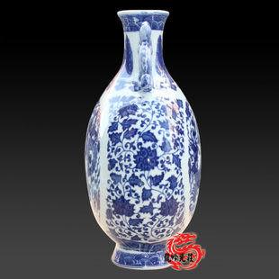 清官窯接耳青花瓷月光瓶