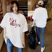 夏新款棉質上衣短T潮寬鬆體恤女裝印花大碼中長款休閒短袖T恤學生