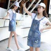 牛仔背帶裙女夏新品正韓學生寬鬆大尺碼可拆卸可愛短裙 開學季限定