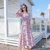 碎花棉綢連身裙夏小雛菊復古大碼顯瘦印花喇叭袖沙灘裙小清新長裙 FX8019