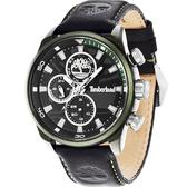 Timberland Henniker 美式潮流日曆時尚腕錶-黑x綠框/46mm TBL.14441JLGN/02