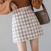 半身裙·A字短裙S-XL時尚毛呢格子半身裙子韓版秋冬短裙顯瘦A字裙T617紅粉佳人