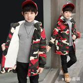中大尺碼外套 男童迷彩外套冬裝加絨加厚保暖中大童8-9歲兒童中長款風衣 js17545【miss洛羽】