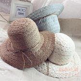 遮陽帽蕾絲草帽子女白色寬檐沙灘帽夏季大沿防曬可折疊軟編織盆帽