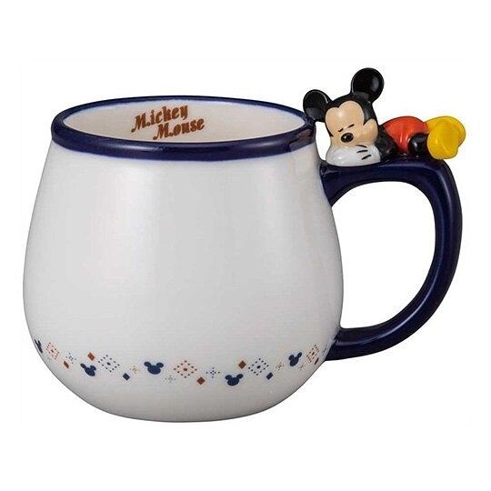 小禮堂 迪士尼 米奇 造型陶瓷馬克杯 咖啡杯 茶杯 陶瓷杯 340ml (藍白 杯邊玩偶) 4942423-25842