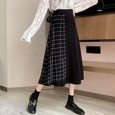 針織半身裙女裝秋冬季2021年新款百搭中長款高腰顯瘦黑色A字裙子 童趣屋  新品