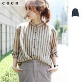 直條紋襯衫 女 立領 梨面布 免運費 日本品牌【coen】