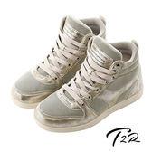 【韓國T2R】韓流金屬布面裂紋氣墊內增高鞋8CM 金(5600-0192)