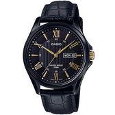 【台南 時代鐘錶 CASIO】卡西歐 台灣公司貨 MTP-1384BL-1A 羅馬時標大三針時尚手錶
