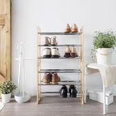 三層可堆疊伸縮式鞋架 原木(53~97.5cm) 可加長 收納 鞋櫃 簡易DIY【立格扉ligfe】輸YAHOO88享88折