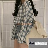 防曬衫夏季長袖薄款春秋格子外套女寬鬆上衣女【邦邦男裝】