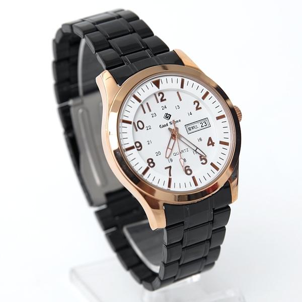 搭載SEIKO機芯黑帶玫金手錶NE2036