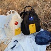 古著感後背包女新款復古帆布包高中學生簡約書包閨蜜款手提包