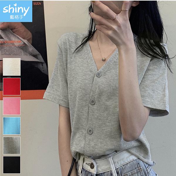 【V3126】shiny藍格子-玩色時尚.V領開衫短款針織上衣