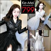 克妹Ke-Mei【ZT48514】 歐洲站 辛辣龐克雙排釦併接網紗皮質外套洋裝