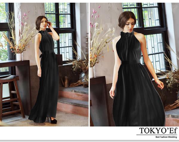 東京衣服-甜美花朵 領削肩顯瘦腰間蝴蝶結綁帶 雪紡洋裝長禮服 黑