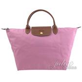 茱麗葉精品【全新現貨】 Longchamp Le Pliage 折疊短揹帶肩提包.粉紅 M #1623