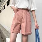 牛仔短褲 牛仔短褲女五分褲寬松直筒港味新款松緊腰高腰學生闊腿褲子潮 寶貝計書