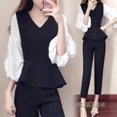 2019春裝新款時髦氣質chic風兩件套韓版女士泡泡袖大碼胖mm套裝褲「時尚彩虹屋」
