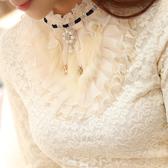 新款寬鬆顯瘦蕾絲打底衫加絨加厚長袖女t恤短款上衣服 卡卡西