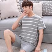 家居服 男士睡衣春夏季短袖短褲棉質韓版卡通休閒可外穿家居服套裝網紅 歐歐