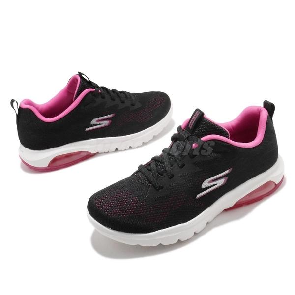Skechers 休閒鞋 Go Walk Air-Windchill 女鞋 黑 桃紅 綁帶款 氣墊 健走鞋【ACS】 16098BKHP