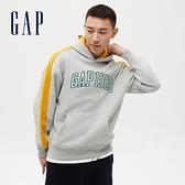 Gap男裝 Logo 1969碳素磨毛連帽休閒上衣 624872-淺灰色