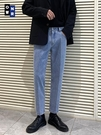 淺藍色牛仔褲男寬鬆直筒夏季薄款九分褲韓版潮流男士百搭休閒褲子 夢幻小鎮