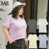 Miss38-(現貨)【A04216】大尺碼短袖上衣 熱銷閨蜜裝 條紋基本款 多色 純棉彈力 圓領T恤 -中大尺碼