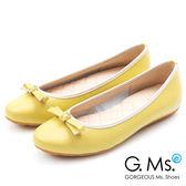 G.Ms. MIT系列-牛皮鑽釦皮帶蝴蝶結娃娃鞋*黃色