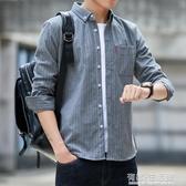 格子衫 夏裝格子襯衫男短袖韓版潮流帥氣條紋設計感長袖襯衣休閒外套大碼 有緣生活館