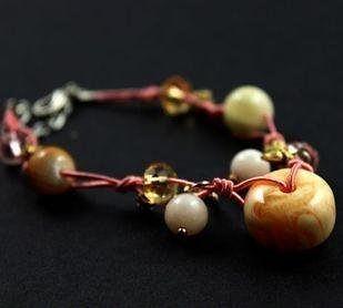 飾品新品 淡粉色原石水晶手工編繩手鏈 限量女生禮物