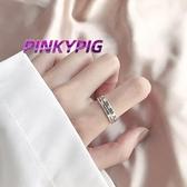情侶戒指 PINKYPIG 復古羅馬數字開口戒指食指戒個性冷淡潮蹦迪ins情侶戒指