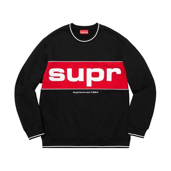 【現貨】Supreme supreme piping crewneck 黑白紅 大學Tee 大LOGO 經典 紅底白字 SUPPC