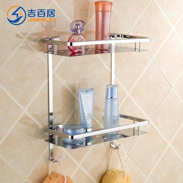 小熊居家衛浴不銹鋼浴室置物架 304不銹鋼面板收納架廁所洗手間壁掛特價