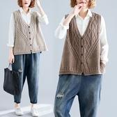 大尺碼 大碼女裝秋季針織毛衣背心馬甲文藝寬鬆v領外穿繡花純色坎肩開衫  快速出貨