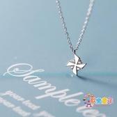 項鍊 s925銀項鍊女韓版小清新鑲鑚光面童趣小巧風車甜美鎖骨鍊 2色