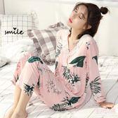 韓版睡衣女春夏季梭織綿綢套裝長袖純棉綢布薄款人造棉家居服大碼