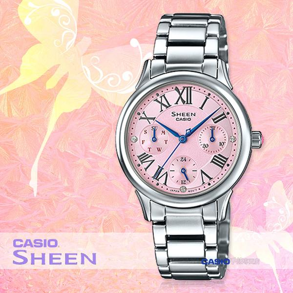 CASIO 卡西歐 手錶專賣店 SHE-3049D-4A 女錶 不鏽鋼錶帶 三眼 防水 羅馬數字