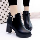 韓版時尚短靴子粗跟高跟短筒靴裸靴休閒女鞋子潮 優家小鋪