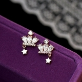 耳環 925純銀鑲鑽-皇冠五角星生日情人節禮物女耳飾2色73du13【時尚巴黎】