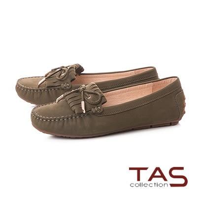 TAS立體綁繩蝴蝶結流蘇莫卡辛便鞋-橄欖綠