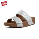 新降66折【FitFlop】MINA IRIDESCENT SLIDES 金屬光澤鞋面寬帶涼鞋-女(珍珠白)