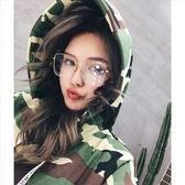 現貨-韓版vintage時尚百搭平光鏡墨鏡太陽眼鏡文藝復古眼鏡框周揚青同款眼鏡網紅方框金邊大框圓
