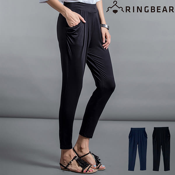 哈倫褲--絲柔涼感塑型美腿鬆緊雙口袋牛奶絲顯瘦窄管哈倫九分褲(黑.藍L-4L)-P101眼圈熊中大尺碼