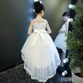 兒童禮服裙女童蓬蓬紗禮服小主持人鋼琴演出服花童白色拖尾婚紗夏 艾維朵