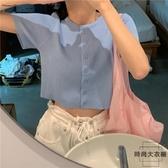 短款T恤夏季寬松顯瘦短袖針織衫【時尚大衣櫥】