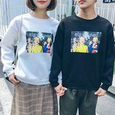 EASON SHOP(GU8298)韓版歐美相片印花刷毛加厚圓領長袖T恤大學T女上衣服落肩寬鬆顯瘦內搭衫素色棉T